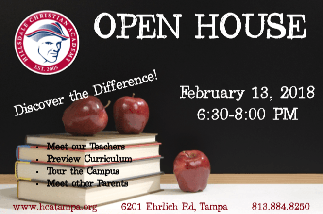 Hillsdale Christian Academy Tampa – Open House 6:30 PM February 13